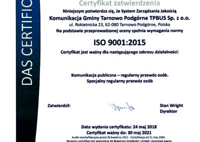 CERTYFIKAT ISO 2018-2021